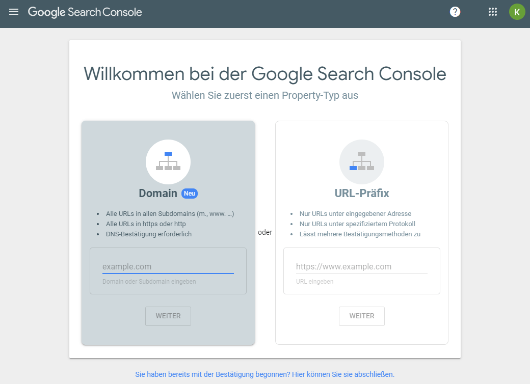 Property in der Google Search Console anlegen