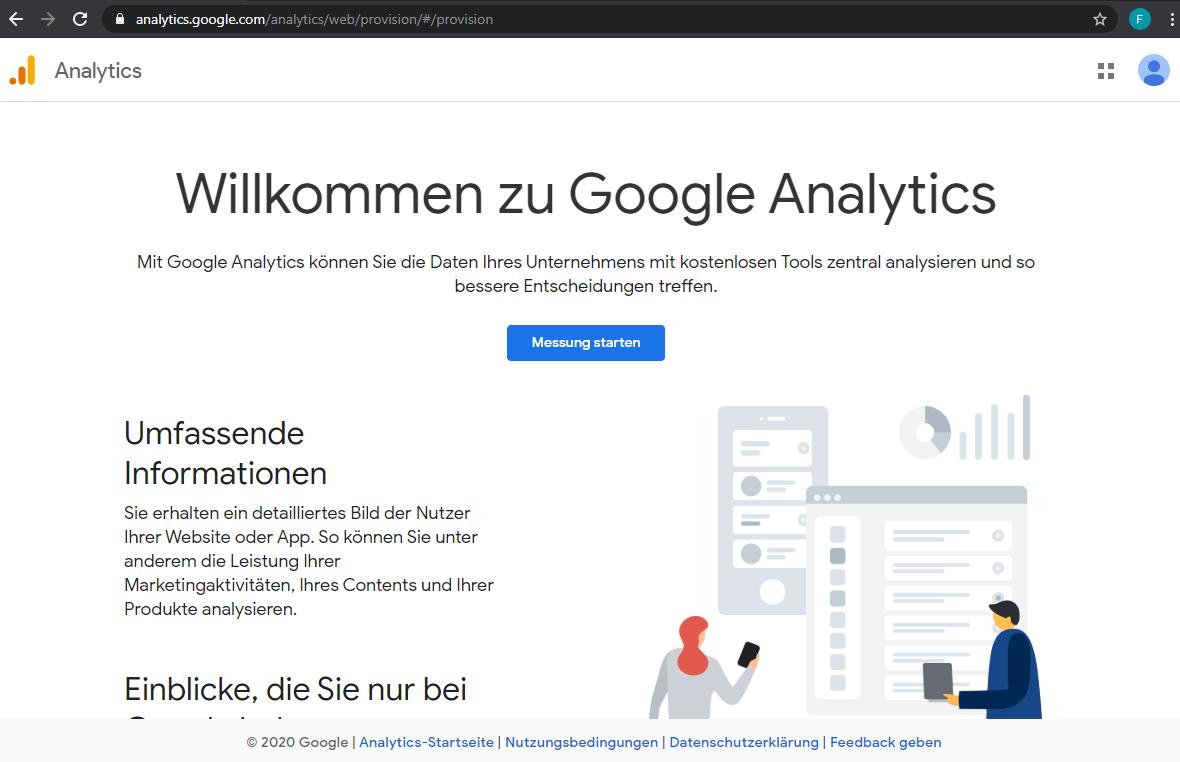 Anmeldung bei Google Analytics