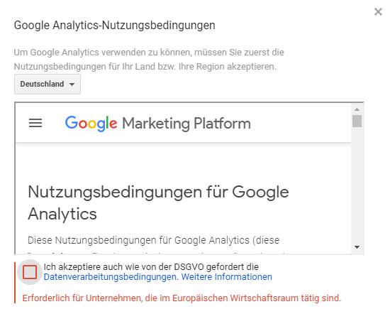Nutzerbedingungen von Google Analytics akzeptieren