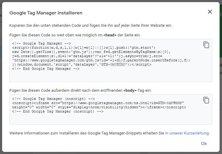 Fügt den Google Tag Manager Code wie vorgegeben in eure Website ein