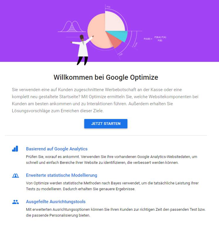 Google Optimize Startseite