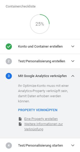 Optimize mit Analytics verknüpfen