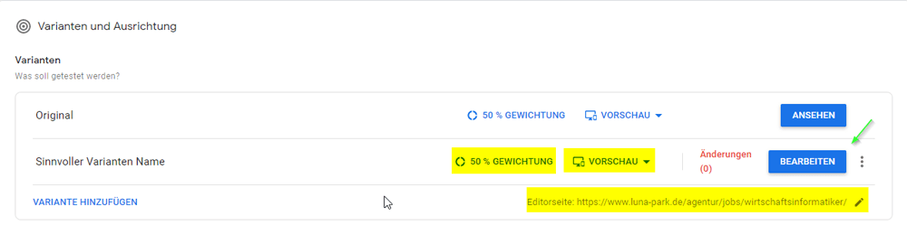 Test Übersicht in Google Optimize