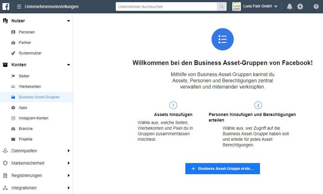 Business Asset Gruppen bei Facebook