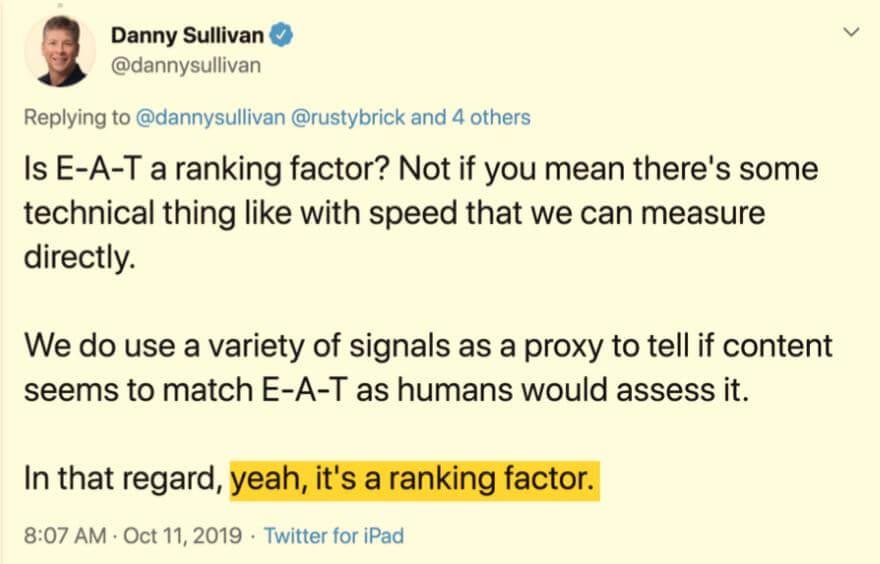 Danny Sullivan über E-A-T als Rankingfaktor