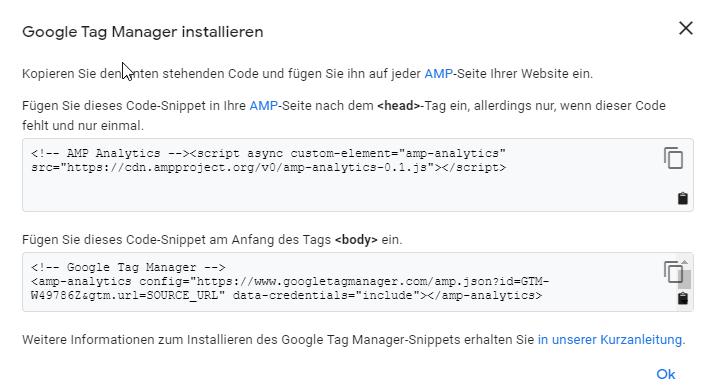 Google Tag Manager Code für AMP