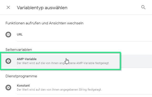 AMP-Variable anlegen