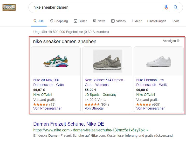 Beispiel: Shopping Ads in der Google Suche