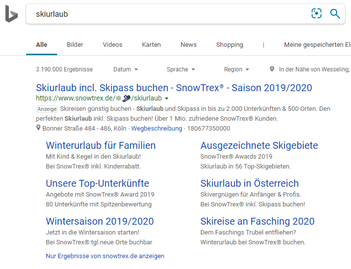 Search Ads in Bing
