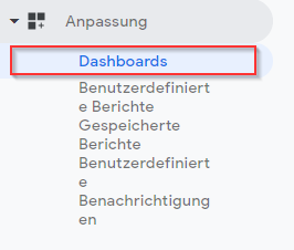 Neues Google Analytics Dashboard anlegen