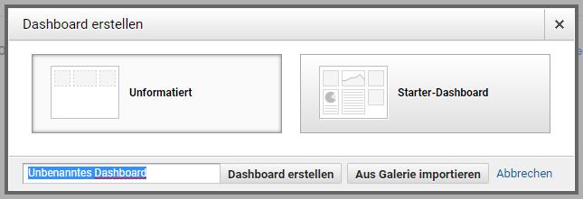 Dashboard-Vorlage auswählen