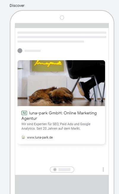 Beispiel-Anzeige im Google Discover Feed mit nur einem Bild