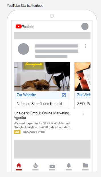 Beispiel: Karussell-Anzeige im YouTube-Startseitenfeed