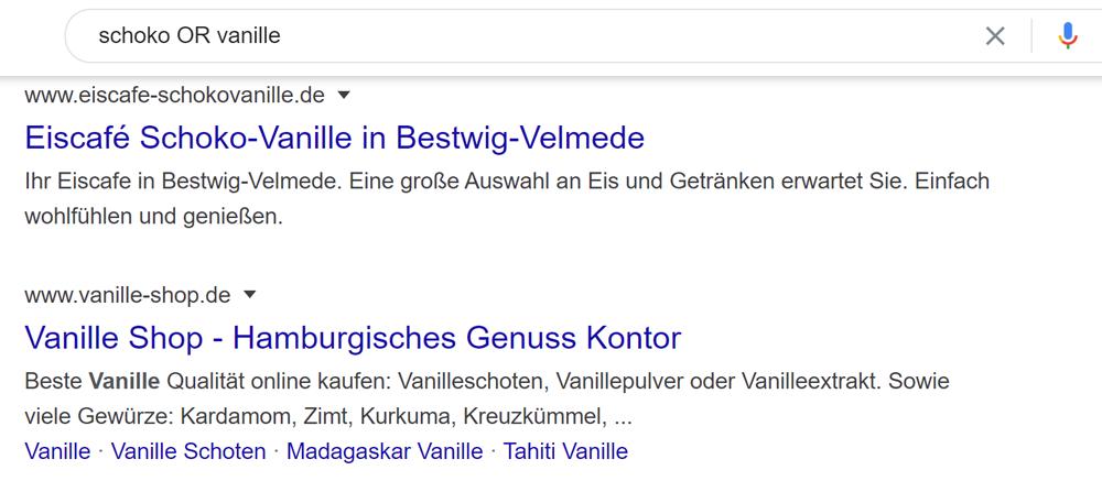 Suche nach Keyword X oder Y