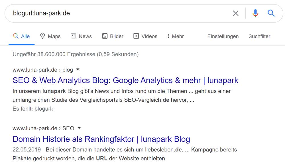 Blog-Unterseiten einer Domain