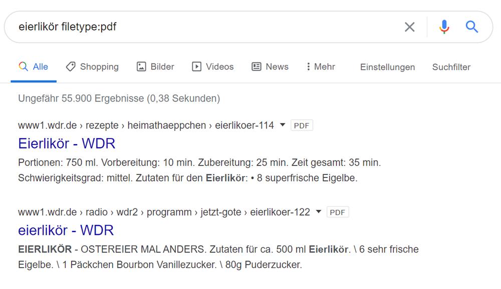 Suche auf bestimmte Dateitypen eingrenzen