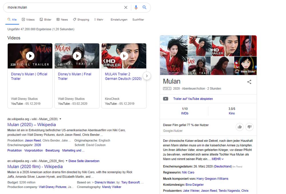 Suchergebnisse zu einem Film