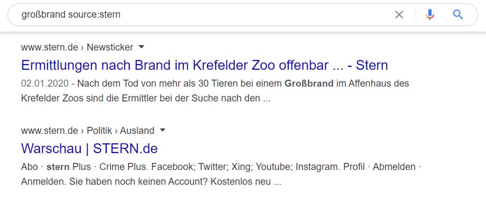 Eingrenzung bei Google News