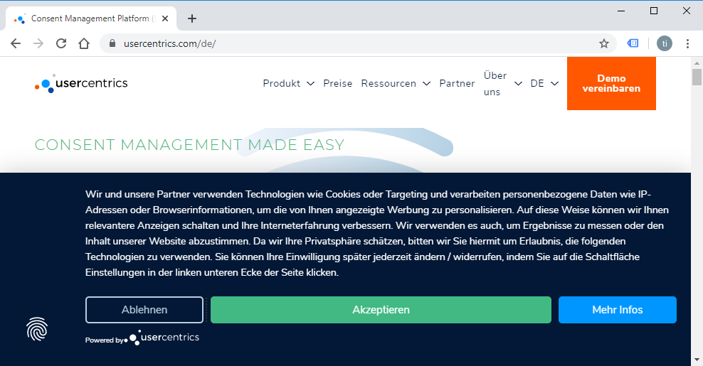 Usecentrics Cookie Consent Leiste