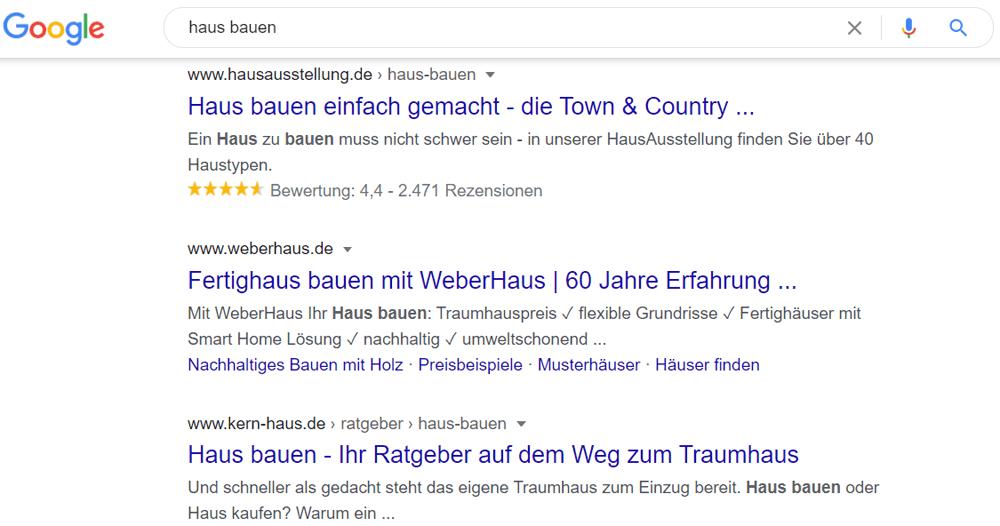 Wettbewerber in der Google-Suche