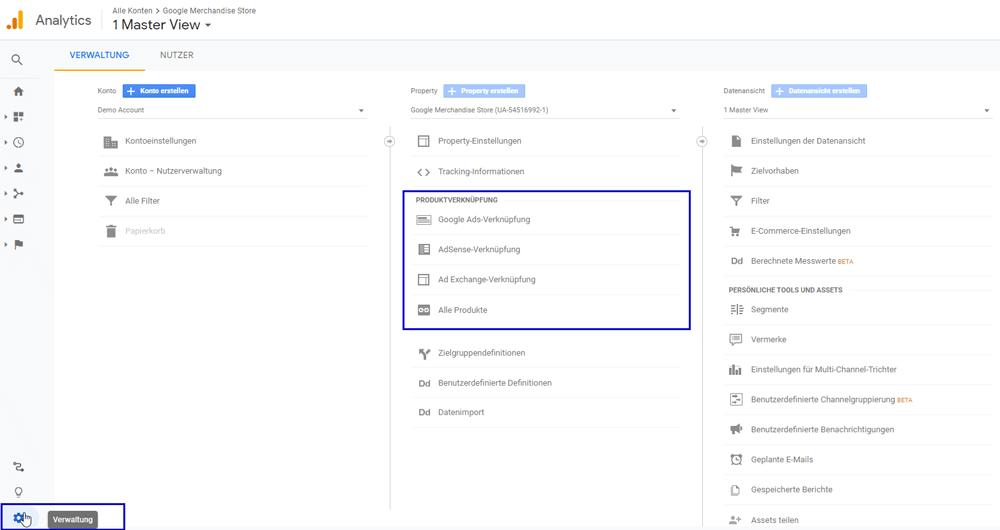 Marketing-Tools mit Google Analytics verknüpfen