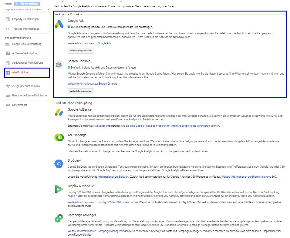 Beispiel: Google Ads und Google Search Console sind verknüpft