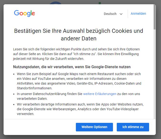 Nutzer müssen den Nutzungsbedingungen der Google Dienst zustimmen, um diese zu nutzen