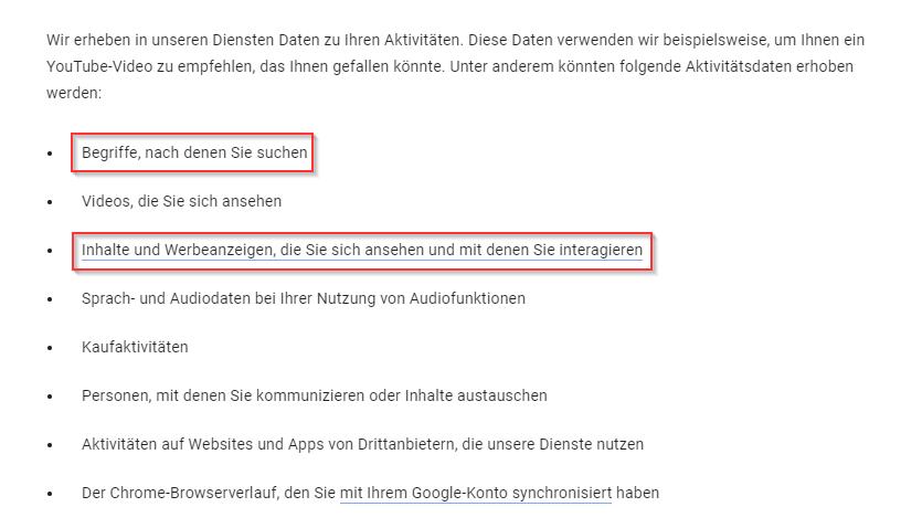Auszug der Datenschutzerklärung für Google Dienste (Stand: 12.11.2020)