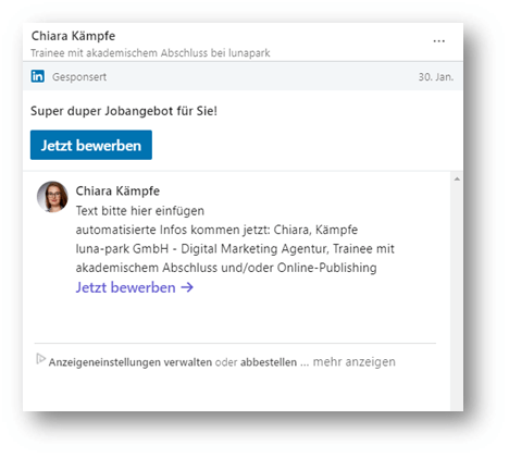 Messaging Ad auf LinkedIn